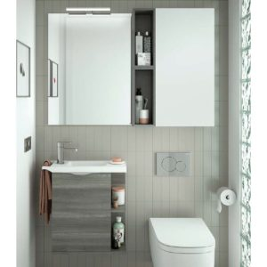 Mueble suspendido y lavabo Solid surface fondo reducido - Martha - Salgar